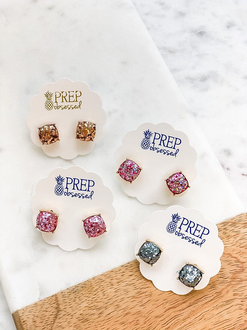 Confetti Glitter Square Stud Earrings by Prep Obsessed