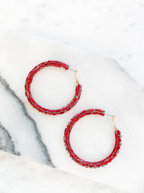 Glitzy Baguette Hoop Earrings in Red by Prep Obsessed