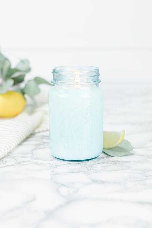 Lemon Eucalyptus 16 oz blue jar candle by Antique Candle Co.
