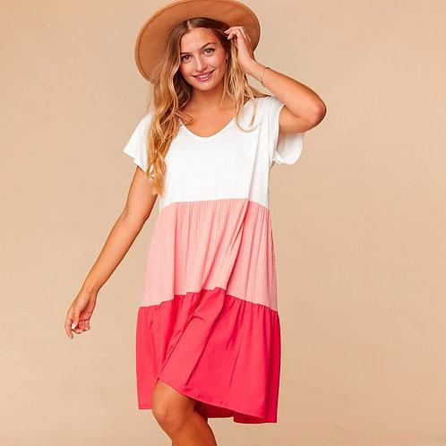 Caroline Color Block Flutter Sleeve Dress