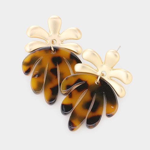 Tortoise Acetate Tropical Leaf Earrings