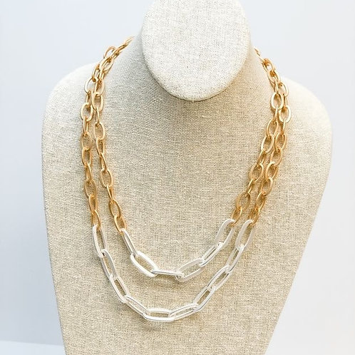 Matte Two Tone Link Chain Necklace
