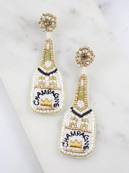 Champagne Bottle Embellished Earring White