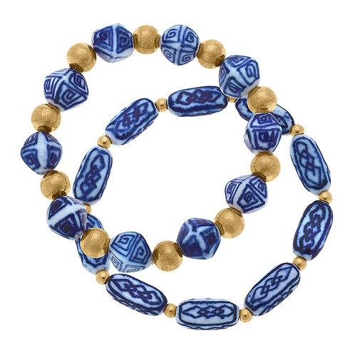 Katherine Chinoiserie & Ball Bead Bracelets in Blue & White (Set of 2)