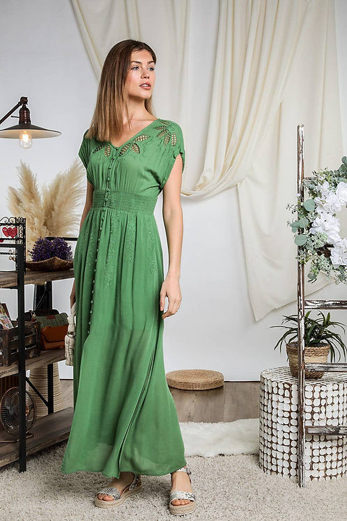 Olivia V-Neck Button Down Short Sleeve Maxi Dress