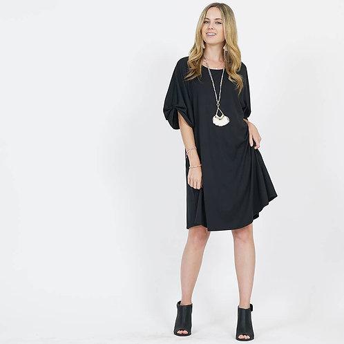 Puff Sleeve Two-pocket Dress