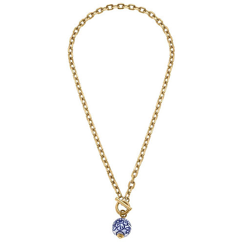 Marchesa Chinoiserie T-Bar Necklace in Blue & White