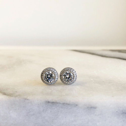 Cubic Zirconia Halo Studs by Prep Obsessed