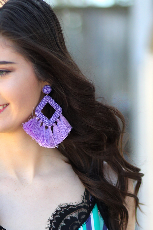 Ellie Fringe Drop Earrings Lavender