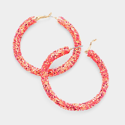 Glitter Hoops in Coral
