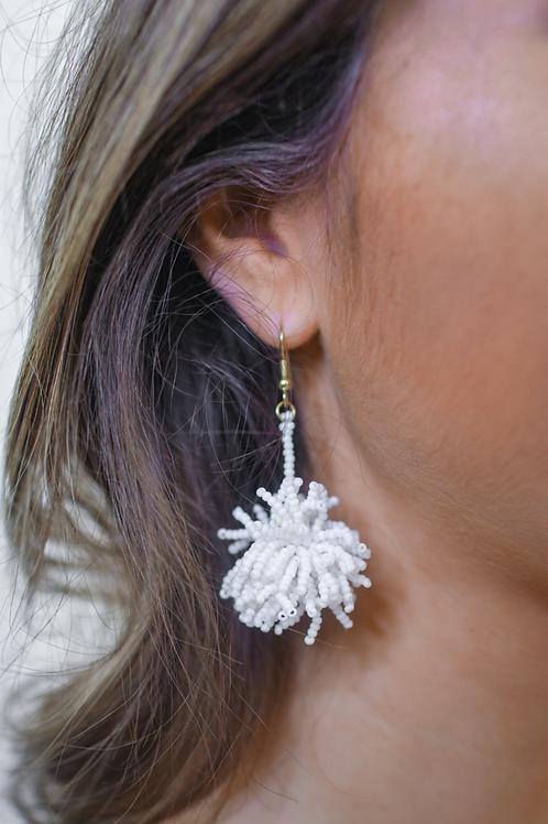 Broadway Beaded Pom Earrings in White