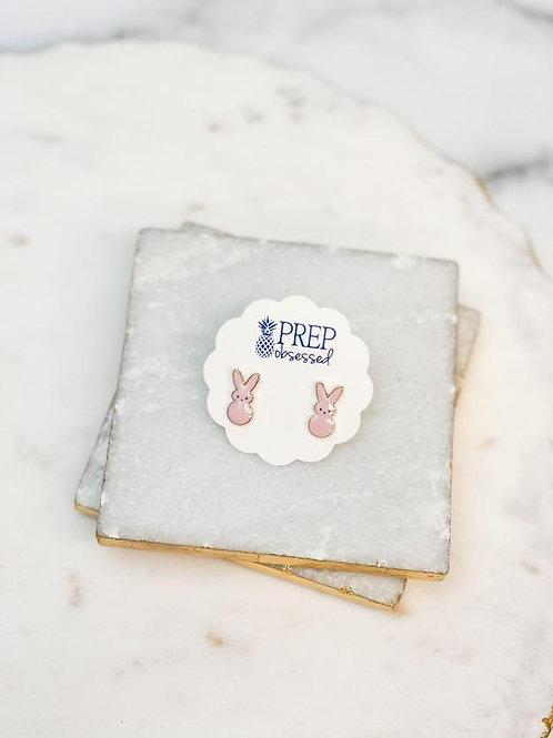Pink Bunny Enamel Stud Earrings by Prep Obsessed