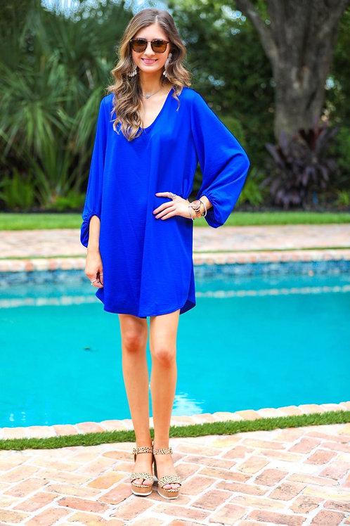 Jessie Balloon Sleeve Dress in Royal Blue
