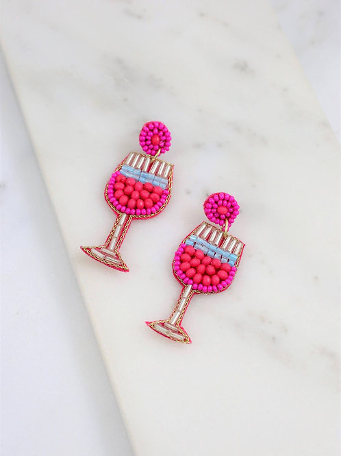 Sangria Cocktail Beaded Earring Pink