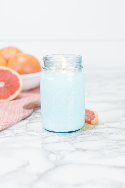 Grapefruit 16 oz blue jar candle by Antique Candle Co.