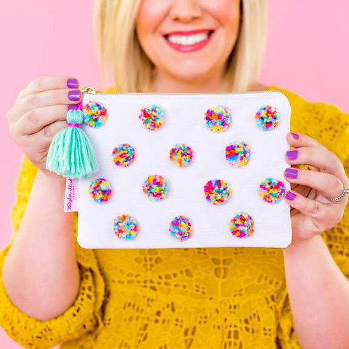 Multi-Colored Pom Pom Pouch by Taylor Elliott Designs