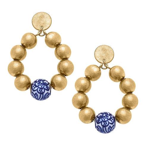 Paloma Chinoiserie & Ball Bead Teardrop Earrings in Blue & White
