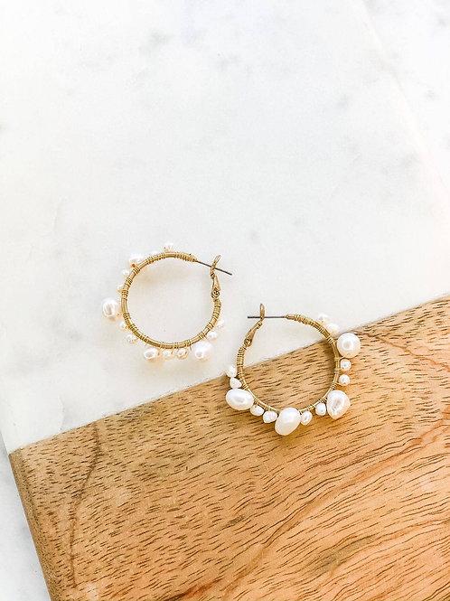 Piper Pearl Hoop Earrings by Prep Obsessed