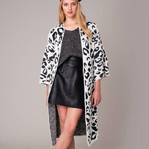 Snow Leopard Print Cardigan