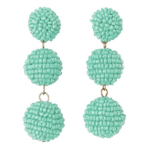 Seed Bead Ball Drop Earrings Mint
