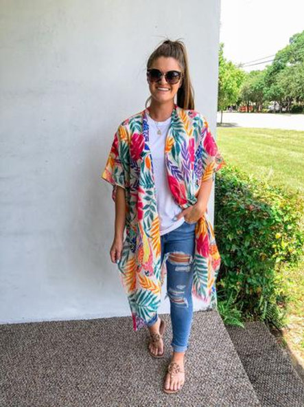 Bright Tropical Palm Kimono by Prep Obsessed