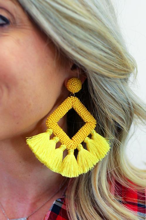 Ellie Fringe Drop Earrings in Yellow