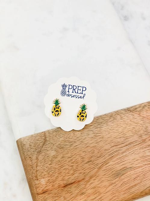 Leopard Pineapple Signature Enamel Studs Earrings by Prep Obsessed