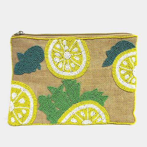 Pucker Up Lemon Beaded Clutch