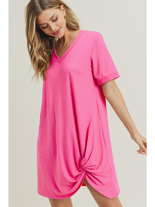 Hot Pink Knotted Dress