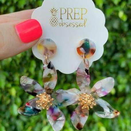 Aria Flower Statement Dangle Earrings by Prep Obsessed