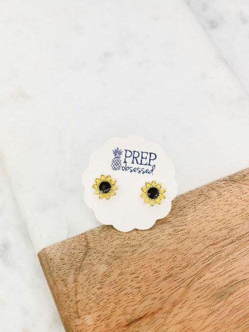 Sunflower Enamel Stud Earrings by Prep Obsessed