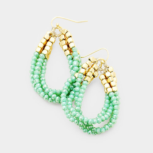 Mint and Gold Twisted Triple Beaded Earrings