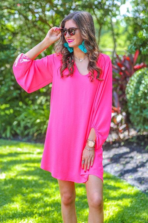 Jessie Balloon Sleeve Dress in Neon Pink