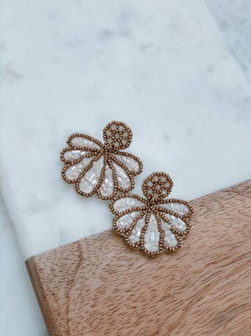 Clam Shell Beaded Statement Earrings in Ivory by Prep Obsessed