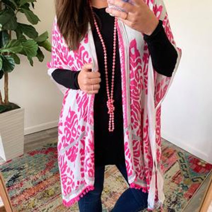 Elena Printed Kimono in Pink by Prep Obsessed