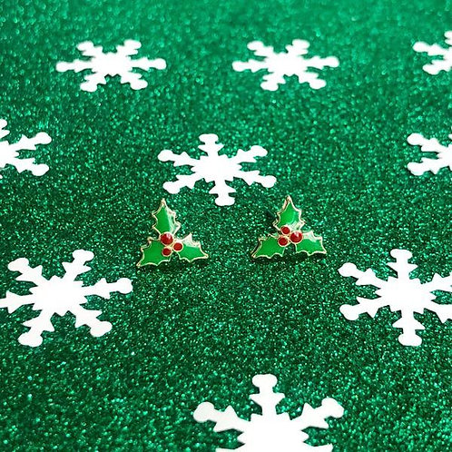 Christmas Holly Enamel Studs by Prep Obsessed