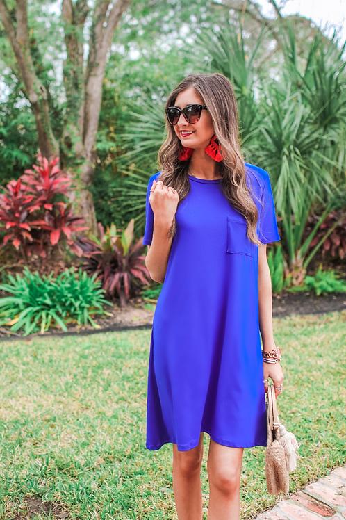 Maddie T-Shirt Dress in Royal Blue