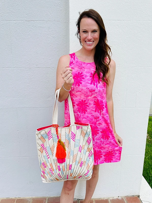 Glenview beaded woven tote bag