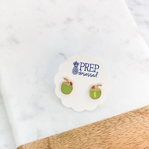 Coconut Enamel Stud Earrings by Prep Obsessed