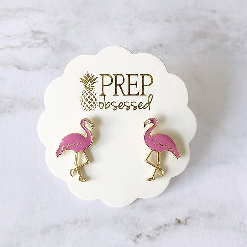 Flamingo Enamel Stud Earring by Prep Obsessed