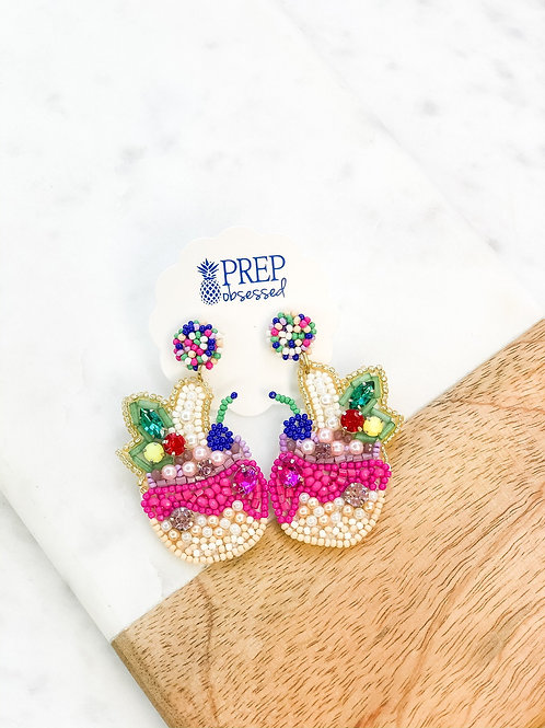Tropical Drink Beaded Statement Dangles by Prep Obsessed