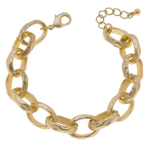 Hudson Chain Link Bracelet in Matte Gold