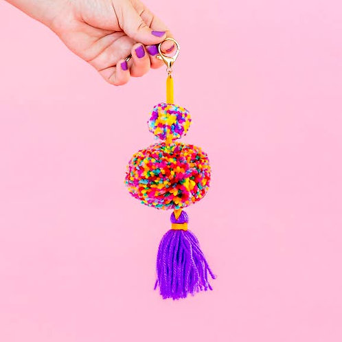 Purple Pom + Tassel Keychain by Taylor Elliott Designs