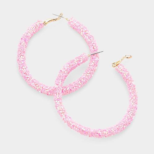 Glitter Hoops in Pink