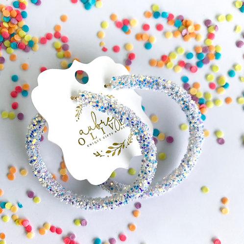 Glitter Hoops in White
