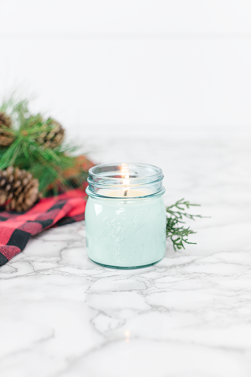 Tree Farm 8 oz blue jar candle by Antique Candle Co.