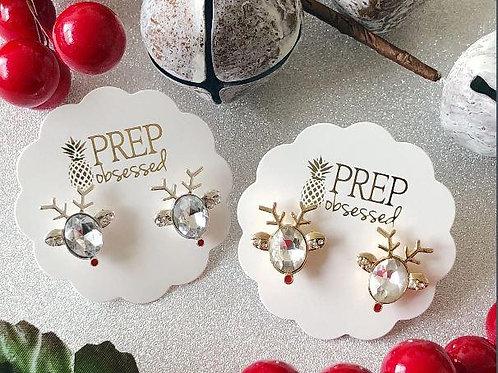 Faceted Gem Reindeer Earrings by Prep Obsessed