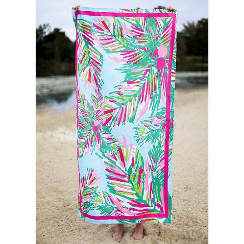 Panama Beach Towel in Aruba Blue/Hot Pink