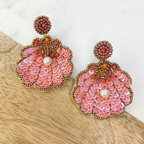 Coral Seashell With Pearl Statement Earrings by Prep Obsessed