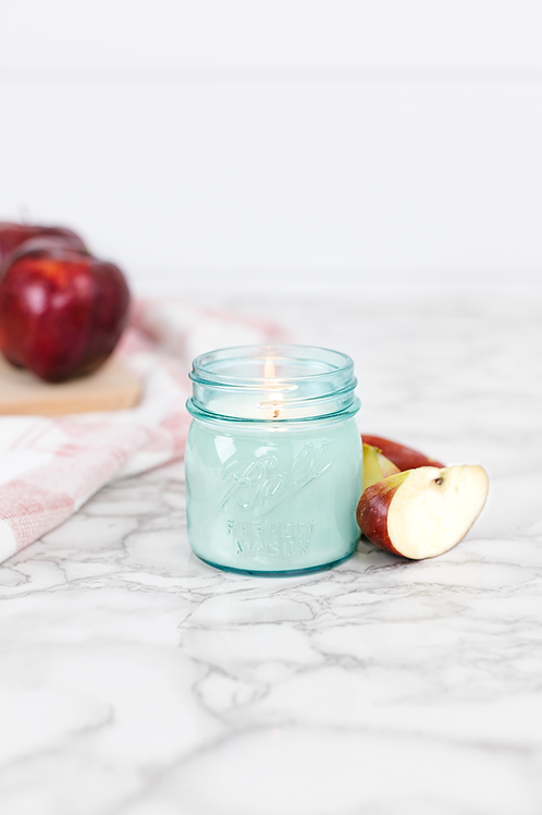 Apple Pickin' 8 oz. blue jar candle by Antique Candle Co.